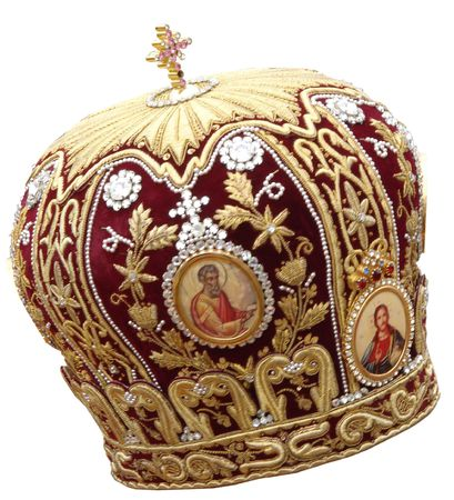 red mitre - solemn headgear of the orthodox bishop photo