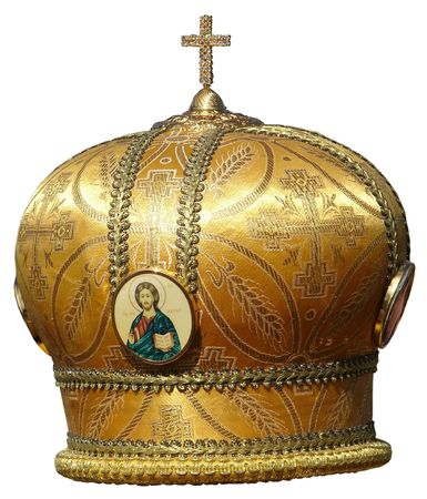 golden mitre - solemn headgear of the orthodox bishop photo