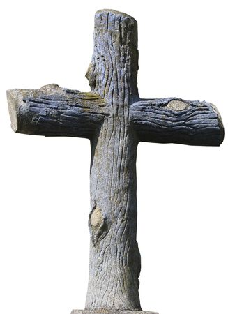 to implore: Isolated stony christian cross styled as mature wooden logs Stock Photo