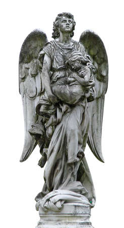 cherubs: Mature marble angel figurine sculpture Stock Photo