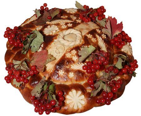 Isolated Ukrainian festive bakery Holiday Bread for wedding photo