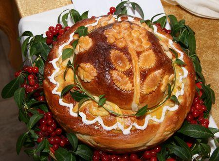 Ukrainian festive bakery Holiday Bread for wedding photo