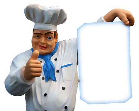 menue: Chief cook showing empty blanc of restaurant menue