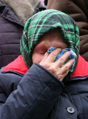 Old Ukrainian country sad granny portrait Stock Photo