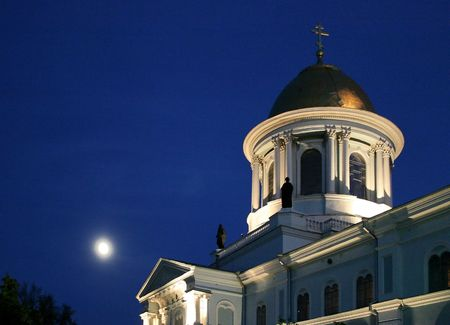 street creed: Nigh Spaso-Preobrazhensky Cathedral in Ukrainian city of Sumy