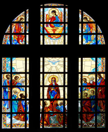 Colrful stained glass window of christian cathedral