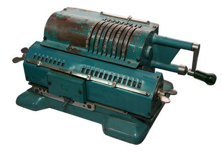 isolated obsolete vintage mechanical adding machine photo