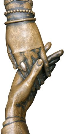 isolated bronze figurine of newlyweds hands Stock Photo - 3256044