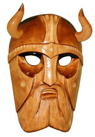 Wooden hadmade mask of viking Stock Photo
