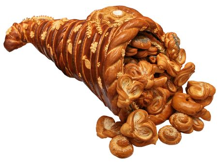 Isolated handmade festive Bread Horn of Plenty Stock Photo
