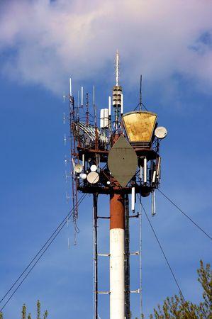 aloneness: Peak of communication Hi-Tek mast with lights and antennas