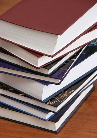 hard cover: Stack of new books with hard cover spines