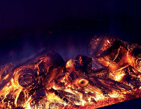 kindling: Flaming wooden coal logs of home fireplace Stock Photo