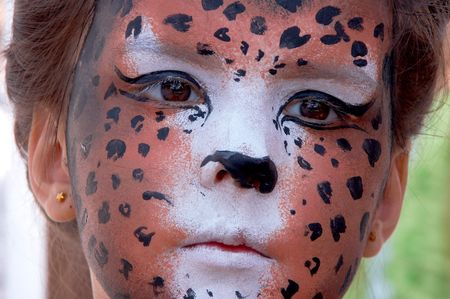 cute girl kid face with painted panther color mask Stock Photo - 3722033