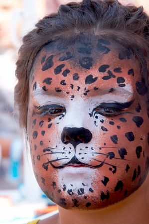 cute girl kid face with painted panther color mask Stock Photo - 3722026