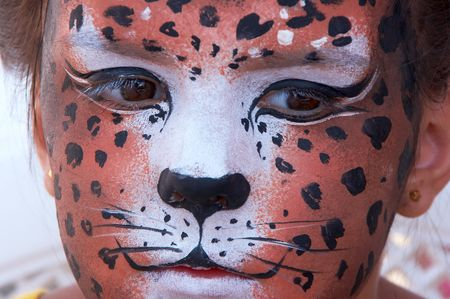 cute girl kid face with painted panther color mask Stock Photo - 3722029