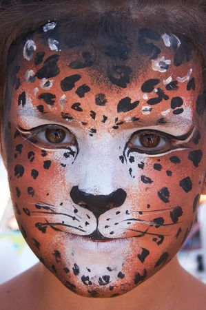 cute girl kid face with painted panther color mask Stock Photo - 3722031
