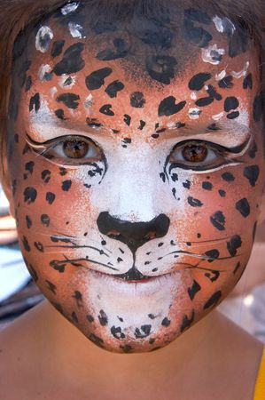 cute girl kid face with painted panther color mask Stock Photo - 3722027