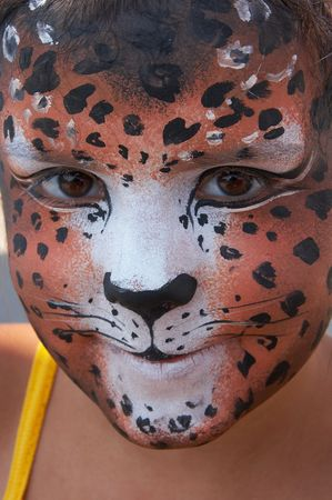 cute girl kid face with painted panther color mask Stock Photo - 3722030