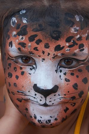 cute girl kid face with painted panther color mask Stock Photo - 3722028