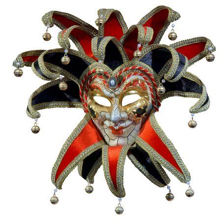 Isolated Venetian joker mask with bells photo