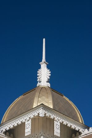 white wooden roof gable mast against clear deep blue sky Stock Photo - 3903090