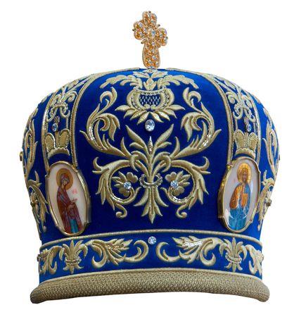 Blue mitre -solemn headgear of the orthodox bishop
