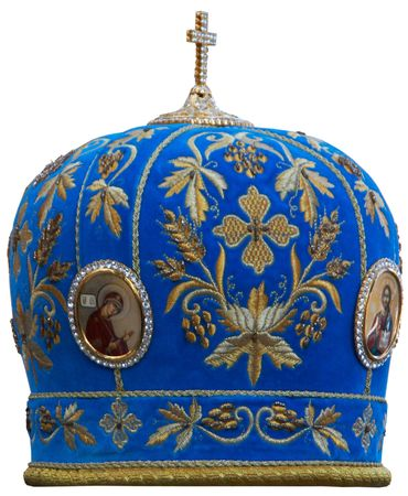 Blue mitre -solemn headgear of the orthodox bishop photo