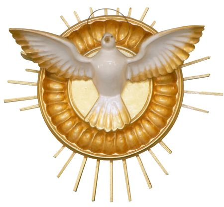 isolated golden pigeon christian symbol church decoration Stock Photo