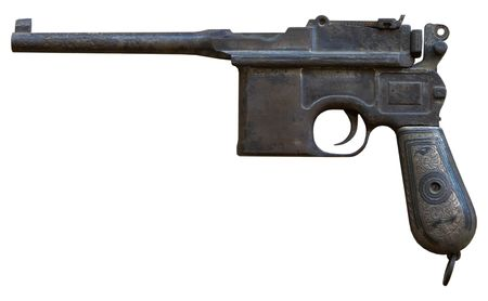 isolated rusty obsolete vintage personal pistol Stock Photo - 3978720