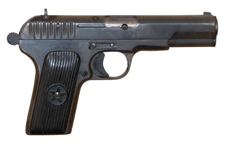 wreckage: isolated rusty obsolete vintage personal pistol Stock Photo