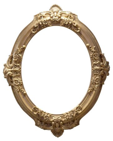 Isolated empty oval golden handmade frame photo