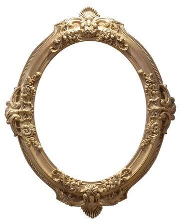 Isolated empty oval golden handmade frame Stock Photo - 4010937