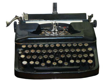 Isolated obsolete vintage typewriter