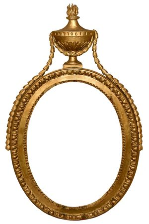 Isolated empty oval golden handmade frame Stock Photo - 4010977