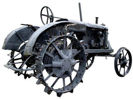 isolated rusty obsolete vintage tractor on white background Stock Photo - 4010973