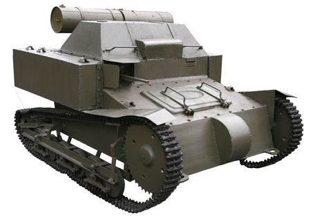 isolated small self-propelled tank of WWI age