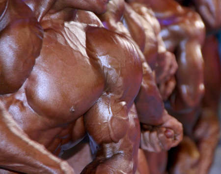 huge group of muscular male chests Stock Photo