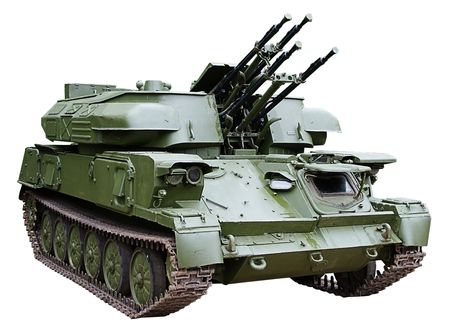 isolated self-propelled armored antiaircraft gun photo