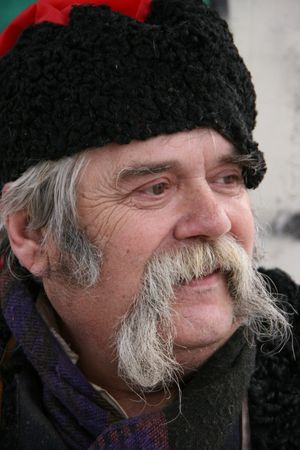 papakha: Old ukrainian Cossack with long gray whiskers
