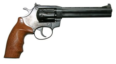 isolated modern two-colored firearm revolver gun photo