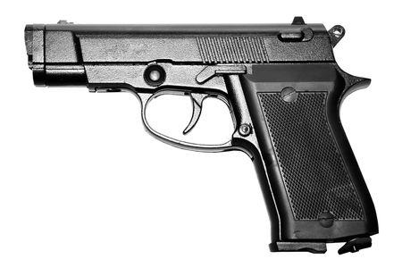 matte: isolated modern military black firearm personal pistol