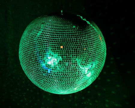 facet: night club lighting mirror-ball over black