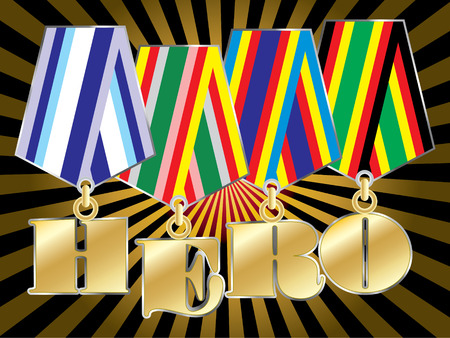 abstract vector military awards with hero word Vector