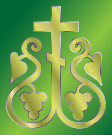 crucify: vector image of Grapes Christian Holy cross Illustration