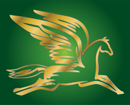 drago alato: illustrazione vettoriale di antichi battenti cavallo Pegasus Vettoriali