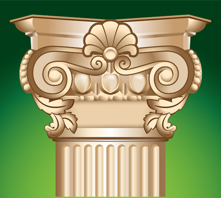 beautification: decorated sandy column top capital illustration over green