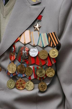 Soviet WW2 military awards on veteran chest