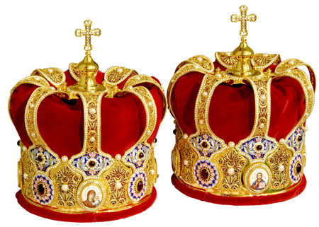 headgear: Two Orthodox Wedding Ceremonial Crowns Ready for Ceremony