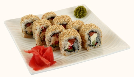 person appetizer: Traditional japaneese cuisine meal sushi